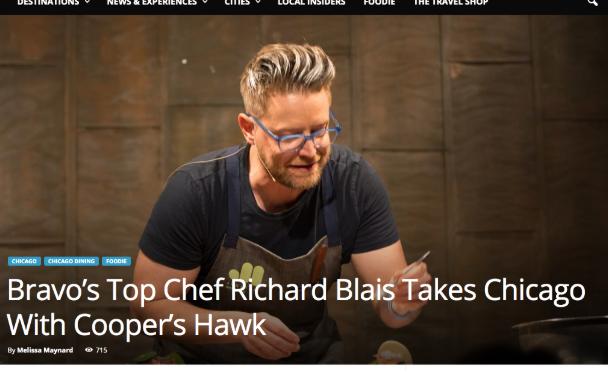 Travel Insider Magazine: Bravo's Top Chef Richard Blais Takes Chicago With Cooper's Hawk