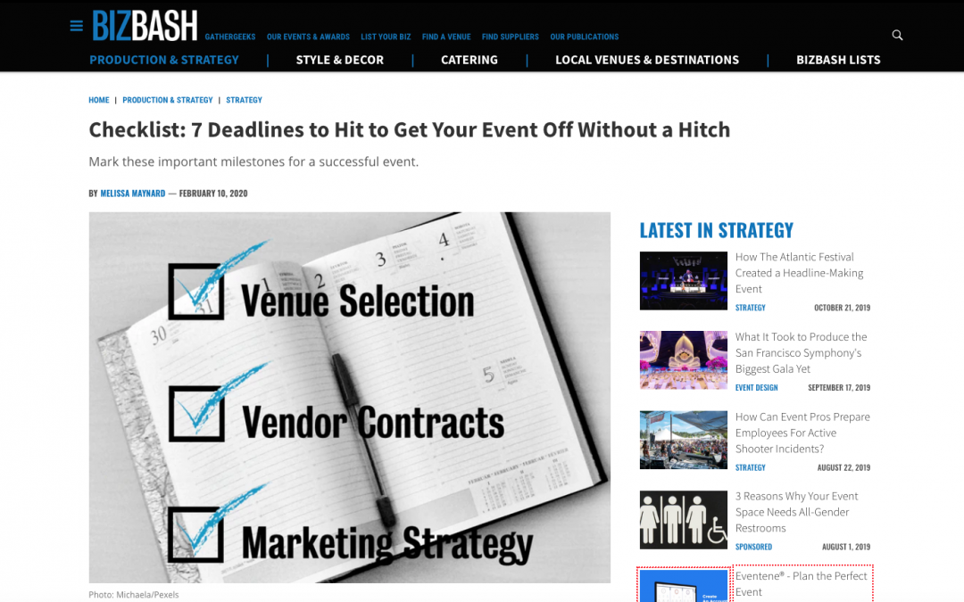 Checklist: 7 Deadlines to Hit to Get Your Event Off Without a Hitch/Bizbash.com